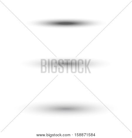 Oval shadow for tab dividers isolated on white vector. Set of shadow effect, illustration of transparent realistic shadow
