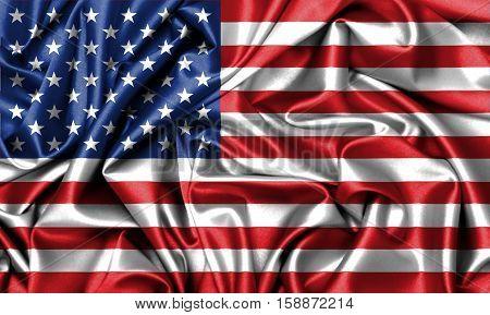 United States of America flag on satin illustration.