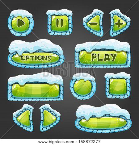 Winter cartoon light green buttons with snow. Game design