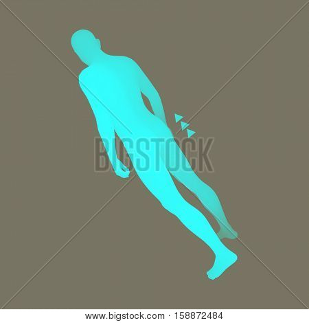 Standing Man. 3D Human Body Model. Design Element. Man Stands on his Feet. Vector Illustration.