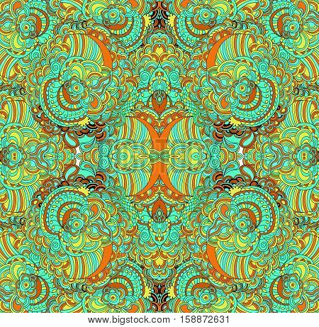 Raster pattern with many lines and details. Ethnic pattern. Raster backdrop. Bright pattern. Summer template. Use for pattern fills, web page background