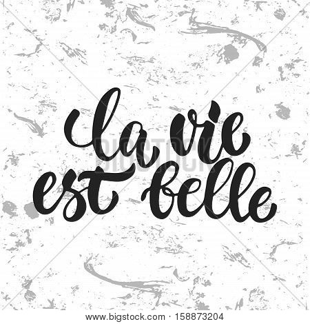 la vie est belle - hand drawn French lettering phrase it means Life is beautiful isolated on the white grunge background. Fun brush ink inscription for greeting card or t-shirt print, poster design.