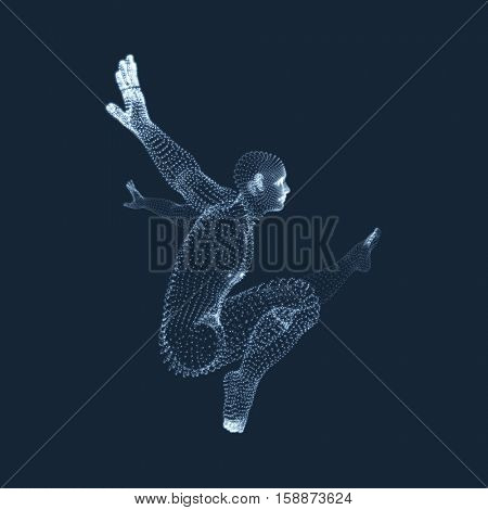 Gymnast performs an artistic element. Rhythmic gymnastics, acrobatics and aerobics. 3D Human Body Model. Vector Graphics Composed of Particles.
