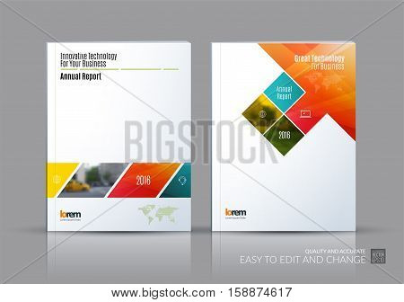Business vector set. Brochure template layout, cover design annual report, magazine, flyer in A4 with rectangular shapes, diagonal lines, parallelogram for IT, business, building. Abstract.