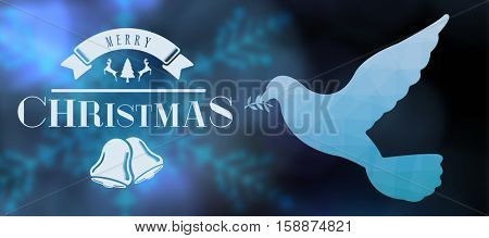 Merry christmas message against illustration of blue translucent glass in flying bird shape