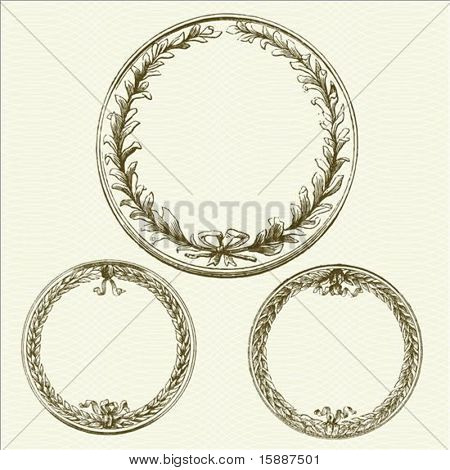 Set of detailed vector victory laurel wreath frames. Easy to edit and change colors.