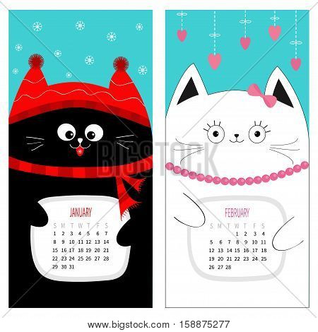 Cat calendar 2017. Cute funny cartoon character set. January February winter month. Snow flake red hat scarf. Hanging pink heart bow bead. Happy Valentines day. Flat design Blue background. Vector