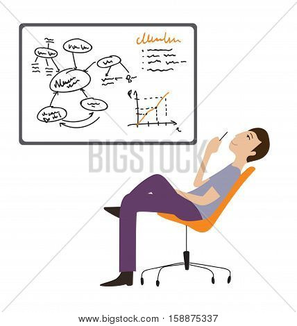 Businessmen working, thinking next to whiteboard vector illustration, Cartoon flat style