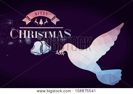 Merry christmas message against translucent glass in flying dove with leaf shape