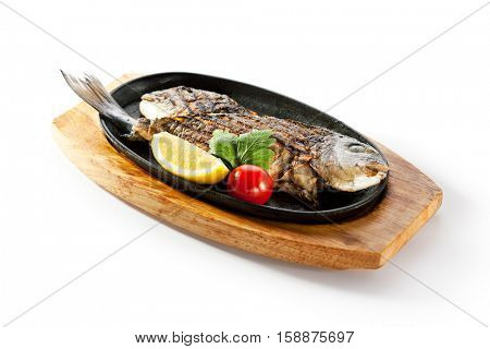 Pan-Fried Gilt Head Bream with Lemon Slice and Tomato