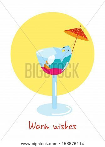 Warm wishes Winter holidays card with cute penguin relaxing in a coctail for Christmas, New Year or Birthday Party, flat vector illustration