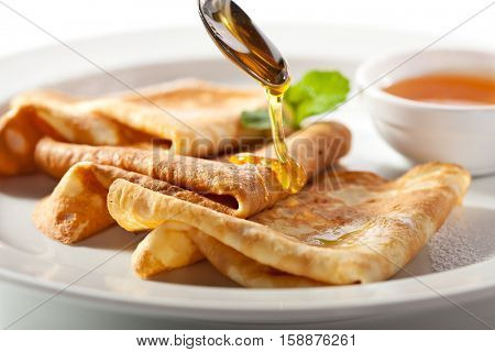 Crepes with Honey and Mint Leaf