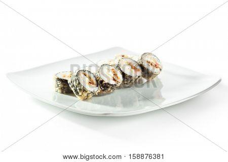Tempura Maki Sushi - Deep Fried Roll made of Salmon, Pineapple Smoked Eel inside