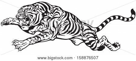 jumping tiger. Aggressive big cat. Black and white tattoo vector