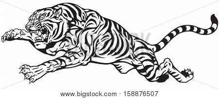 jumping tiger. Aggressive big cat. Black and white tattoo vector