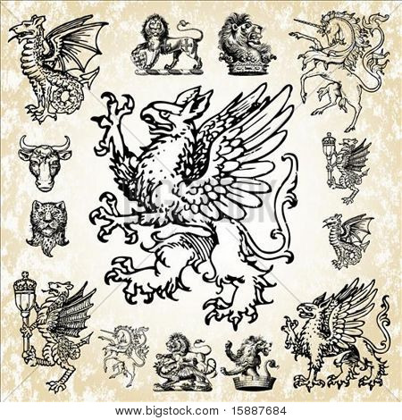 Set of detailed mythical animal vectors. Dragons, lions, griffins, eagles and more.