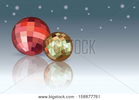 Red and yellow Christmas Balls on blue gradation white snowing background. Geometric polygonal Vector illustration.