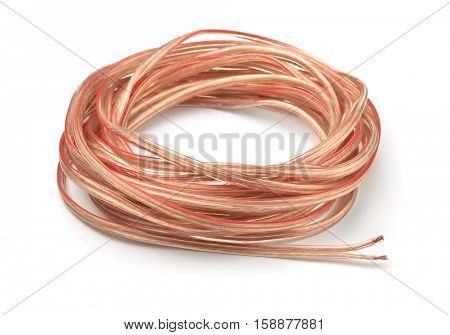 Hank of braided copper cable isolated on white