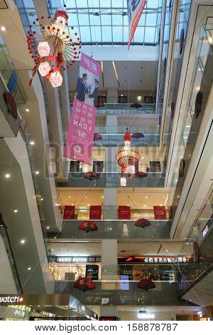 BEIJING - FEBRUARY 24, 2016: Luxury shopping mall. China accounts for about 20 percent, or 180 billion renminbi ($27 billion) of global luxury sales in 2015, according to new McKinsey research.