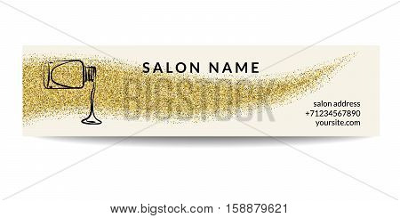 Nail polish banner with golden glitter texture. Manicure design with shiny sparkles. Fashion template for beauty salon or nail artist. For magazine and web advertisement. Vector EPS10 illustration.
