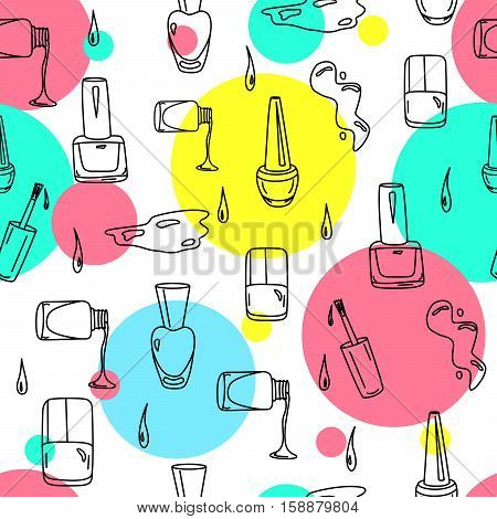 Hand drawn nail polish doodles for beauty salon. Seamless pattern with sketchy nail polish jars, spills and drops with colorful circles. Vector EPS10 illustration.