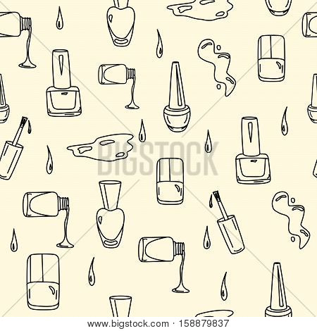 Hand drawn nail polish doodles for beauty salon. Seamless pattern with sketchy nail polish jars, spills and drops. Vector EPS10 illustration.
