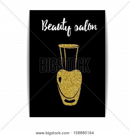 Nail polish banner with golden glitter texture. Manicure card with shiny sparkles. Fashion template for beauty salon or nail artist design. For coupon and gift certificate. Vector EPS10 illustration.