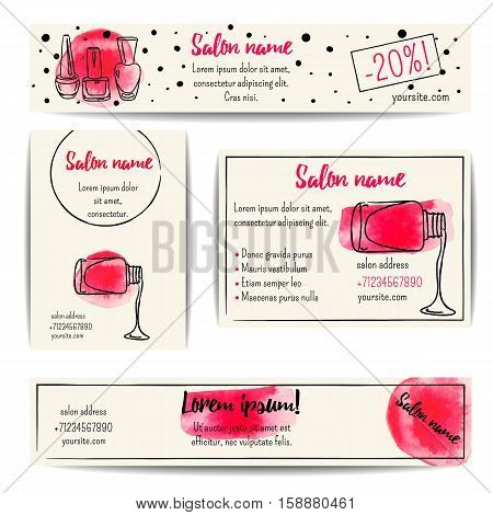 Nail polish banner. Vector set of manicure flyers and coupons. Beauty salon or nail artist design. Isolated fashion templates collection. Watercolor sketchy style. Hand drawn  illustration. EPS10.