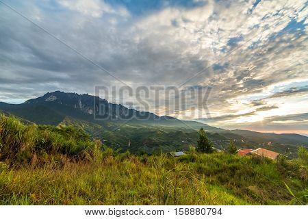 Sunrise over Kinabalu mountain n Sabah, Borneo, Malaysia.
