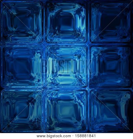 Blue glass tiles cubes window screen abstract image