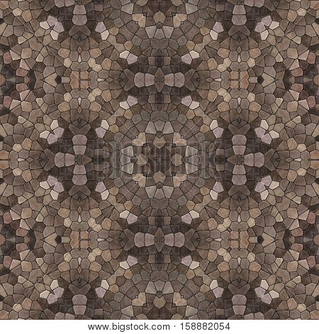Brown mosaic ornamental ornate seamless pattern design