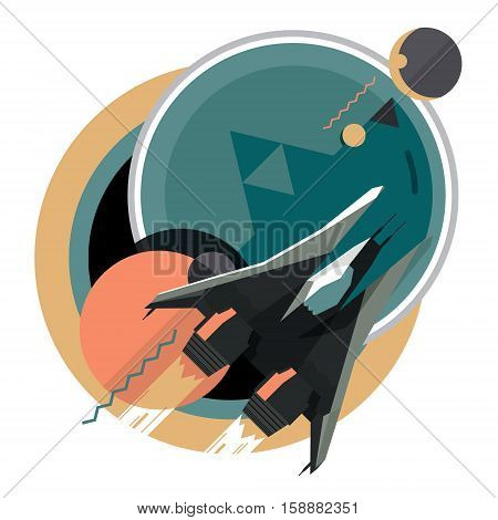 Spacecraft, spaceship in space, planet, flat modern illustration, star war