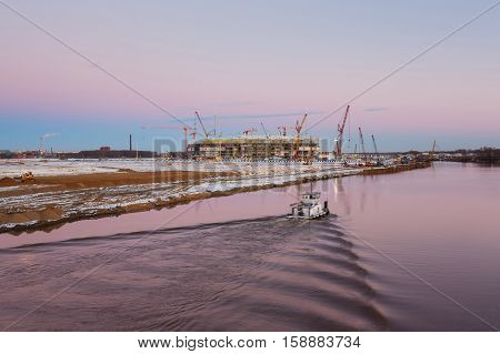 Kaliningrad Russia - November 28 2016: The construction of the new football stadium for the World Championship in 2018 evening