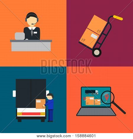 Logistics company and warehouse icon set isolated vector illustration. Storage terminal, logistics manager, freight commercial truck, laptop with delivery map. Local freight transportation company