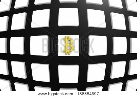 BLOCK CHAIN on box background 3D illustration