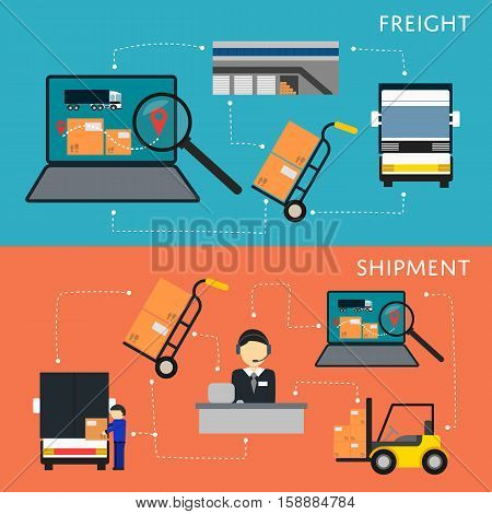 Logistics and freight shipment flowchart set vector illustration. Services operator coordinating cargo transportation. Warehouse logistics manager, freight commercial truck, laptop with delivery map
