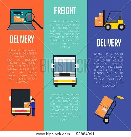 Logistics and freight delivery banners vector illustration. Freight commercial truck, laptop with delivery map, forklift icons. Postal service and distribution, local delivery, warehouse logistics