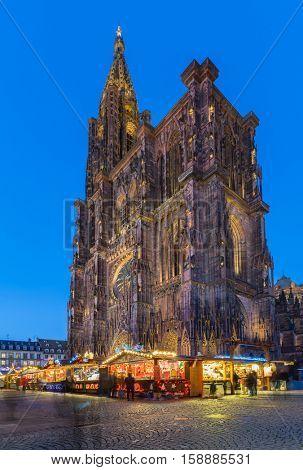 STRASBOURG, FRANCE - NOV 28, 2016: Christmas Market Christkindlmarkt at the Cathedrale in the city of Strasbourg, Alsace region, France