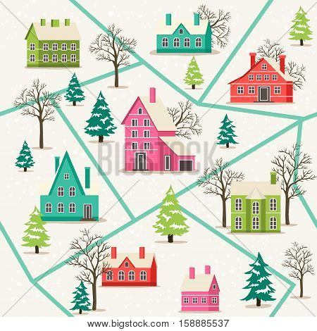 Rural winter landscape seamless pattern vector illustration. Houses in snowfall, rural winter landscape. Funny holiday background with snow covered houses and christmas tree in flat design.