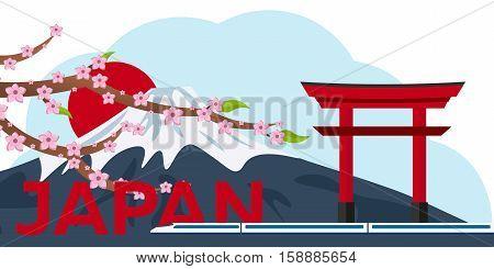 Poster Travel To Japan. Mountain. Sakura Japan Cherry Branch With Blooming Flowers Vector Illustrati