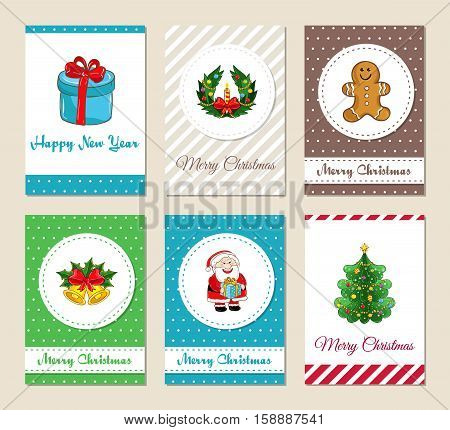 Christmas greeting cards and Xmas party invitations set. Colorful Merry Christmas and Happy New Year concepts with Santa, gift, Christmas tree, cookies, wreath, bells with holly vector illustrations