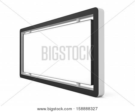 Blank billboard or lightbox on white background. Isolated. 3D illustration