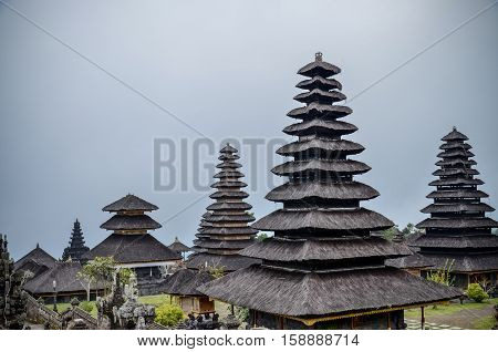 Pura Besakih temple with traditional black pagoda at Bali Indonesia