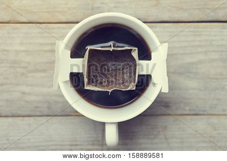 Instant freshly brewed cup of coffeeDrip bag fresh coffee