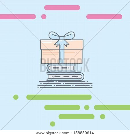 Stack of book flat vector illustration with box gift on the top. surpise gift