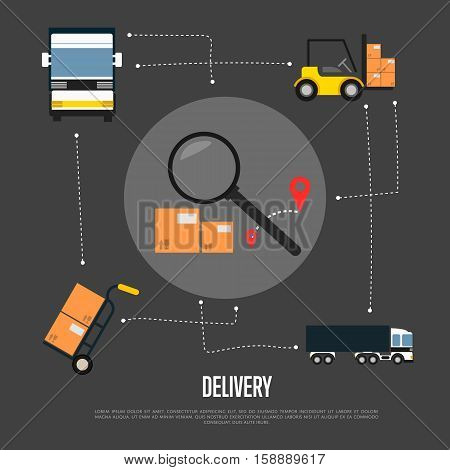 Delivery and freight shipment flowchart vector illustration. Freight commercial truck, forklift with packing boxes, delivery route sign with magnifier. Logistics and cargo transportation service