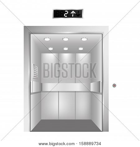 silhouette elevator gray scale with opened door vector illustration