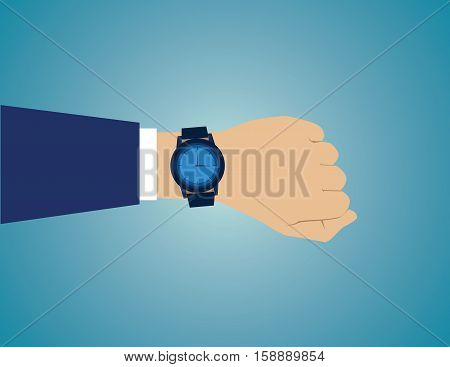 Wristwatch On The Hand Of Businessman In Suit. Time On Wrist Watch. Man With Clock Checks The Time.