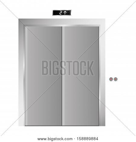 silhouette elevator gray scale with closed door vector illustration