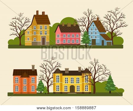 Suburban residential street vector illustration in flat design. Private cottage architecture, street of residential houses, real estate, family home concept. Brick houses and neighborhood front view